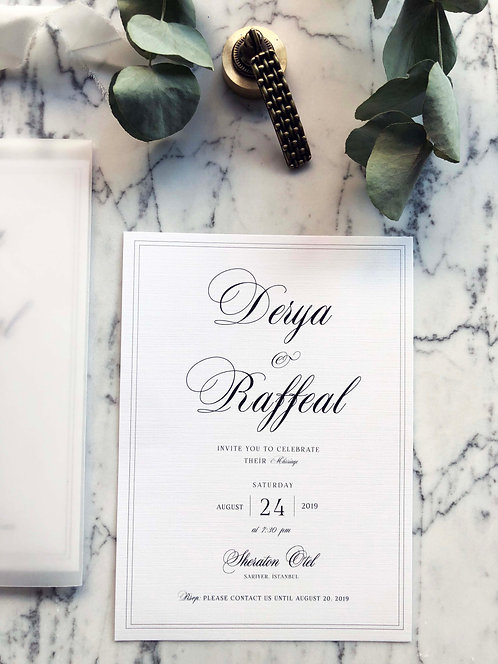 Raffeal Calligraphy Vellum Wedding Invitation