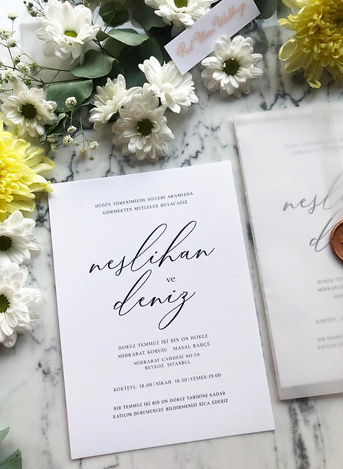 Neslihan Vellum Wedding Invitation