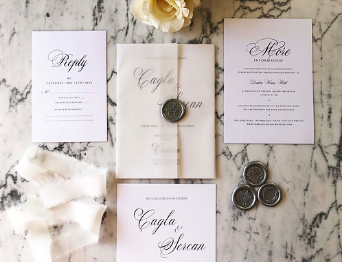 Cagla Romantic Vellum Wedding Invitation