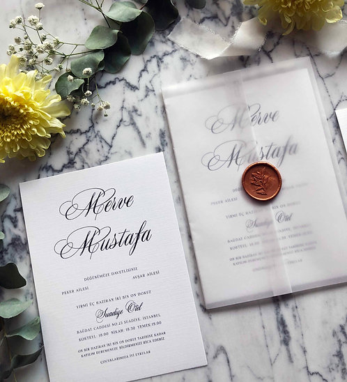 Merve Romantic Vellum Wedding Invitation