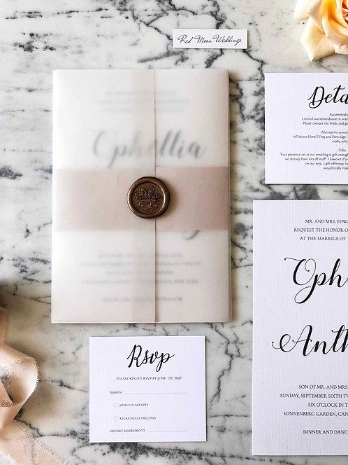 Ophella Vellum Romantic Wedding Invitation