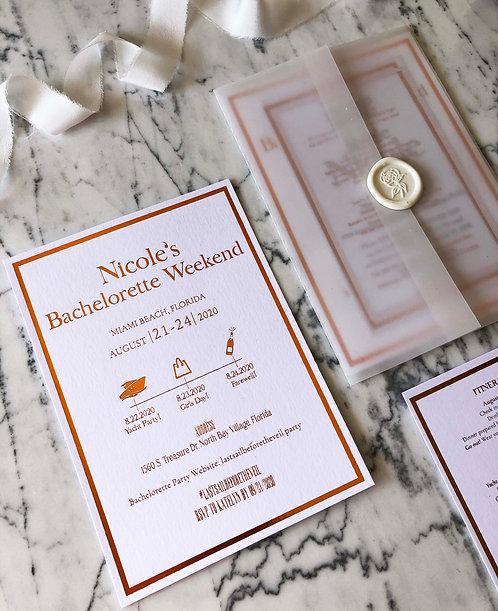 Nicole Rose-Gold Foil Romantic Vellum Wedding Invitation