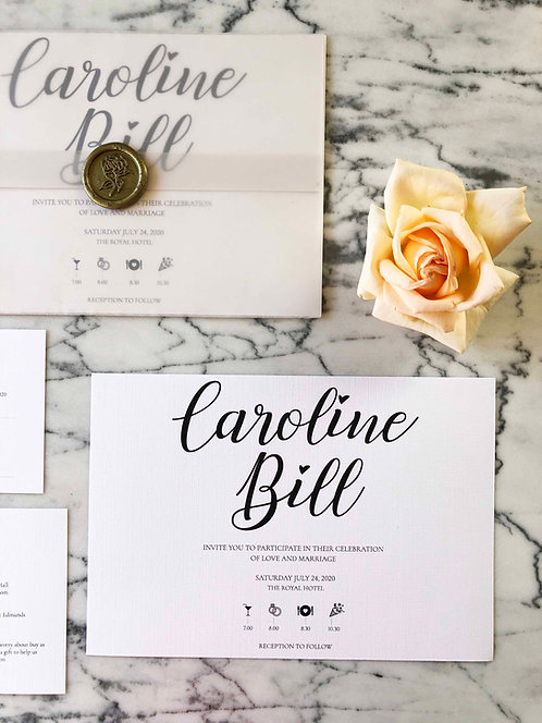 Caroline Luxury Vellum Wedding Invitation