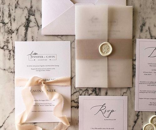 Jennifer Elegant Vellum Wedding Invitation