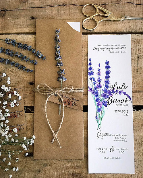 Rustic Lavender Bookmark Wedding Invitation