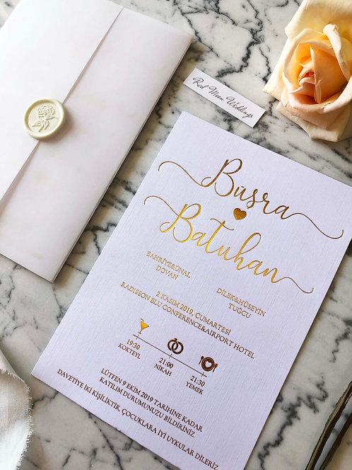 Büşra Gold Foil Luxury Vellum Wedding Invitation