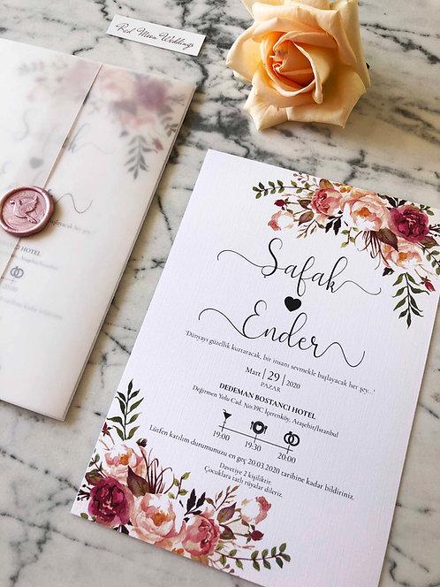 Safak Floral Vellum Wedding Invitation