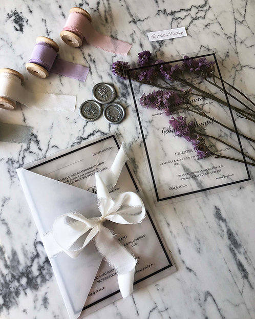 Shantol Acrylic Vellum Wedding Invitation Suite