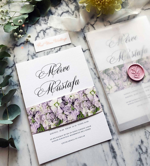 Mustafa Floral Vellum Wedding Invitation