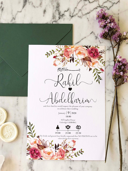 Rahil Floral Classic Wedding Invitation