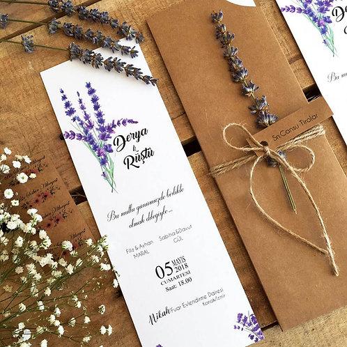 Derya Romantic Lavender Rustic Wedding Invitation