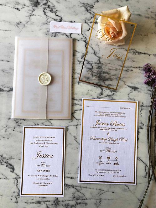Jessica Luxury Gold Foil Vellum Wedding Invitation Suite
