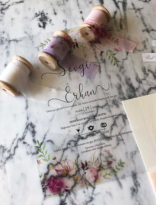 Sevgi Floral Acrylic Wedding Invitation