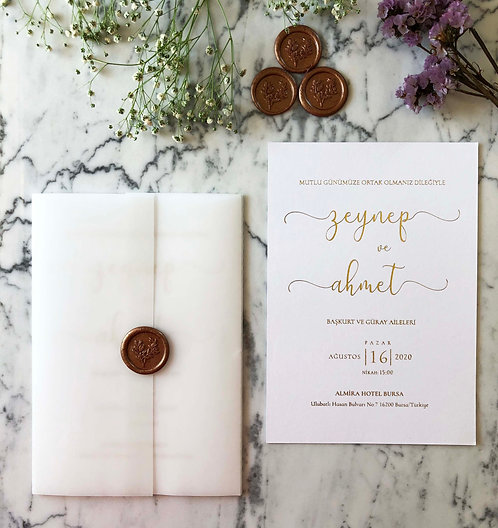 Zeynep Gold Foil Luxury Vellum Wedding Invitation
