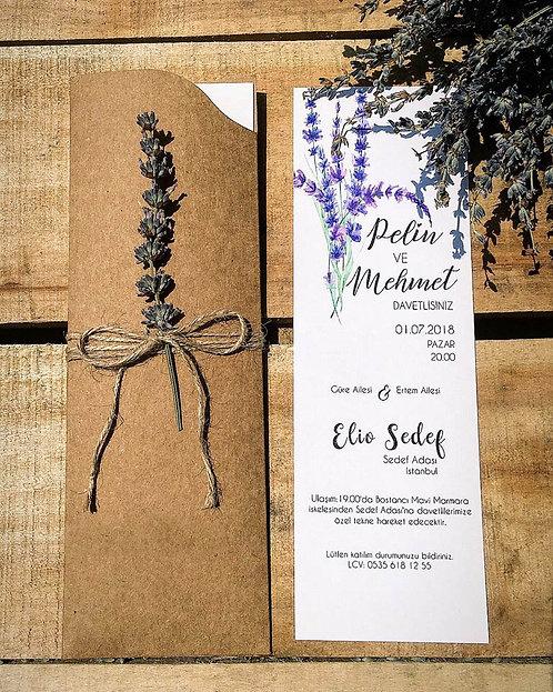 Rustic Lavender Kraft Wedding Invitation