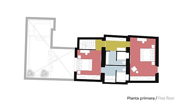 Plano Planta Primera Casa de pueblo Xàbia