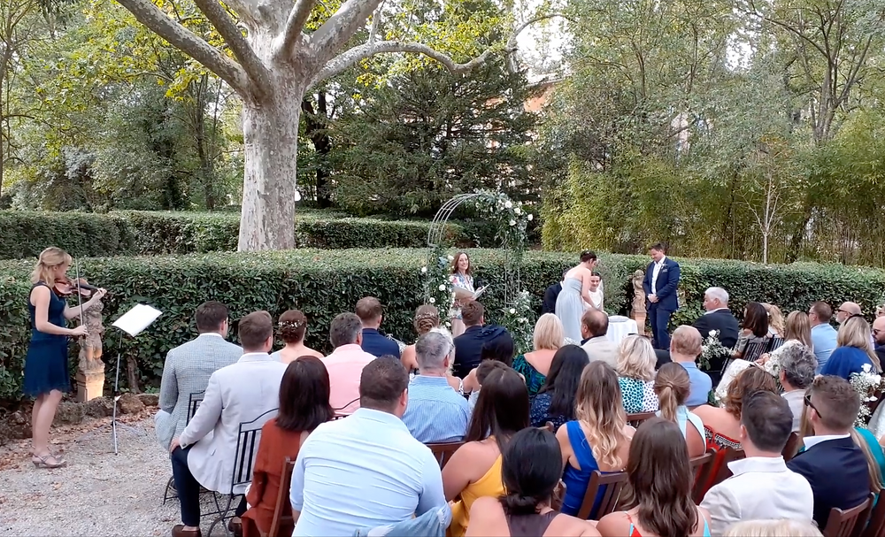 Wedding Ceremony in the gardens of the château