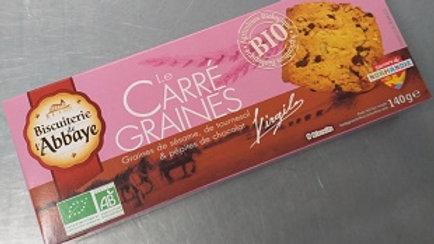 LE CARRE GRAINES BIO (graines de sésame, de tournesol & pépites chocolat)140G