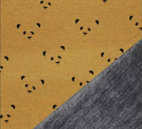 Sweatshirt Polaire Panda fond ocre