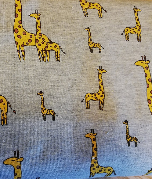 Sweat bouclette girafes fond gris