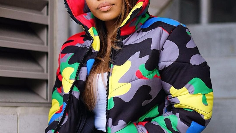 Camouflage  Winter Jacket Women 4XL Plus Size