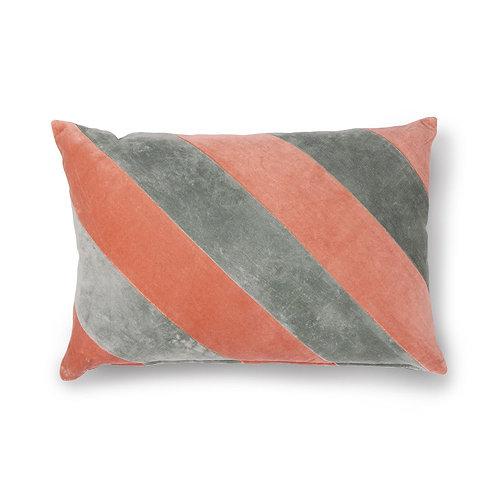 striped cushion velvet grey/nude