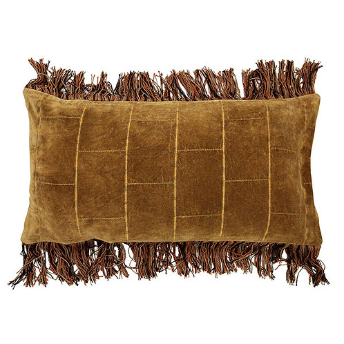 cushion shabby velvet ochre