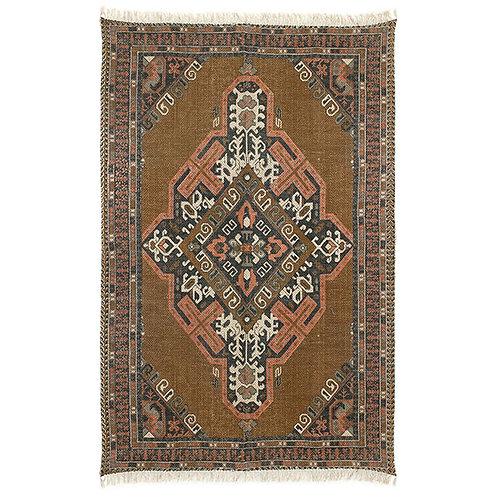 printed cotton/jute rug stonewashed