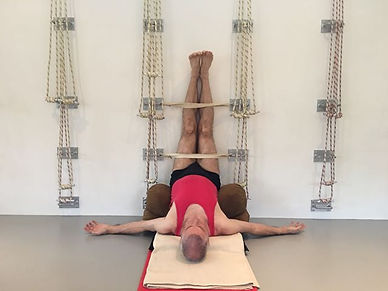 yoga kurunta, yoga with ropes, iyengar yoga wall ropes david , south africa