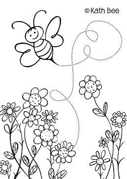Kath Bee, Buzzy Bee colouring sheet