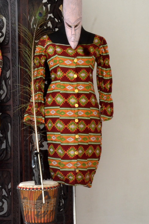 Button-Up Ankara Dress
