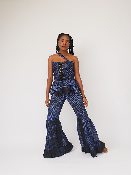 Dark Blue Adire Two Piece