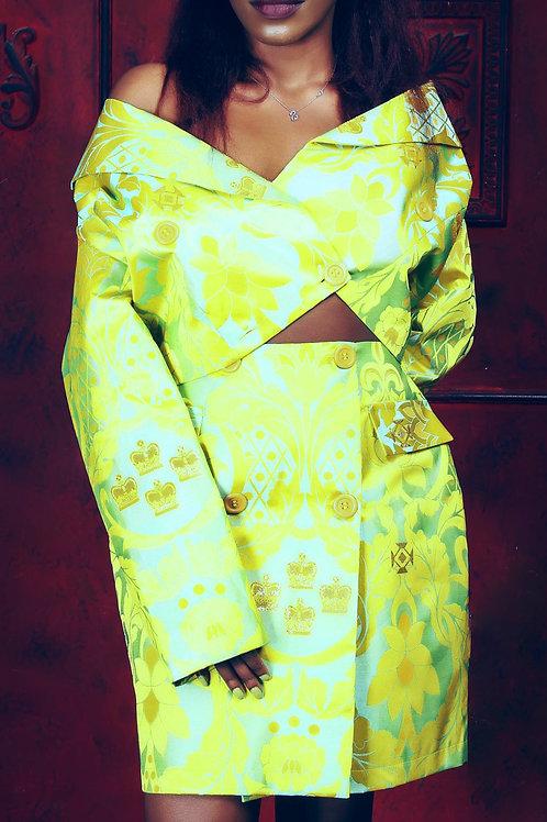 Neon Green Patterned Blazer (Short)