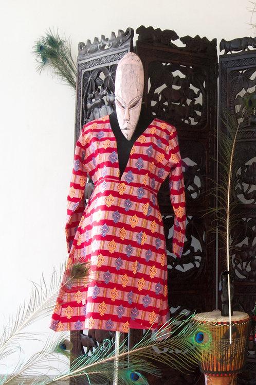 Plunge Neckline Ankara Dress