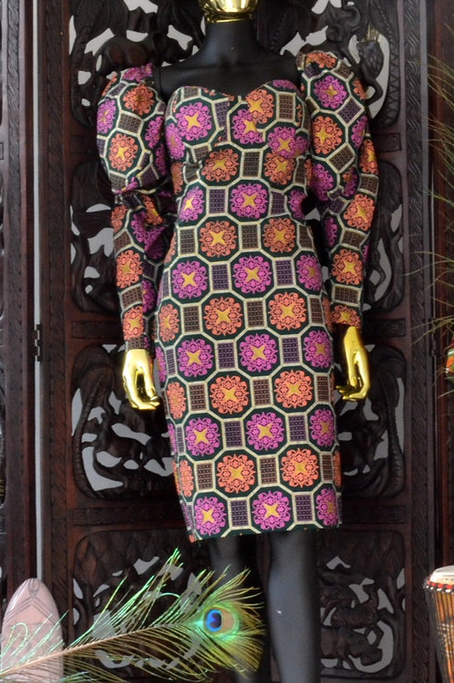 Puff-Sleeved Ankara Dress