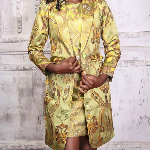 Green Long Blazer-Dress Set