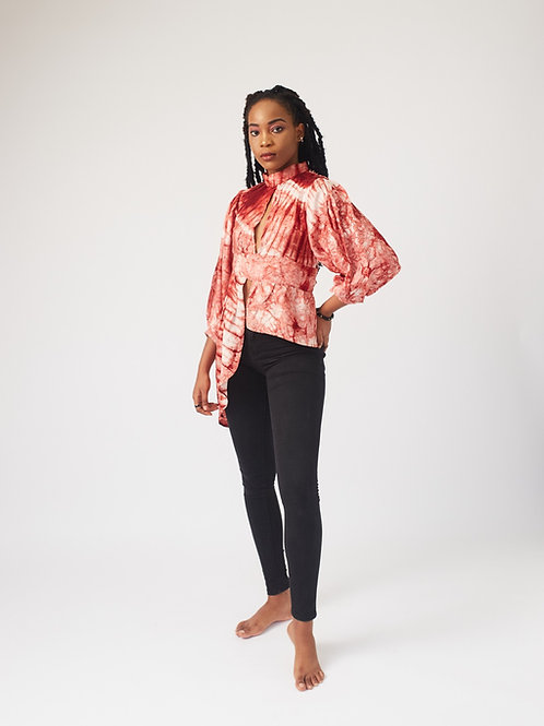 Red and White Adire Top