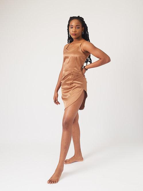 Nude Asymmetrical Silk Slip Dress