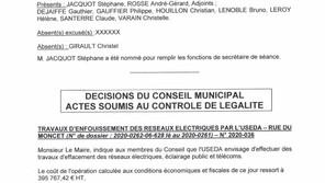 Information : Compte rendu Conseil Municipal du 11 décembre 2020