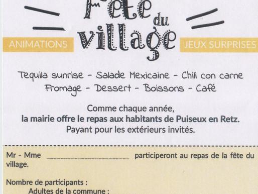 Rappel : Inscription Fête du Village