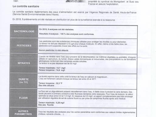 Information : Qualité de l'eau 2018 - Syndicat de Montgobert