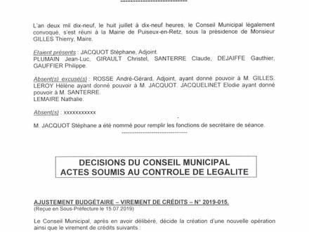 Information : Compte rendu Conseil Municipal du 08 Juillet 2019