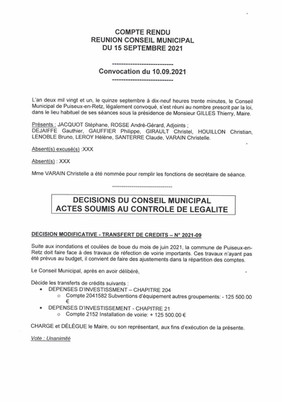 Information : Compte rendu Conseil Municipal du 15 Septembre 2021