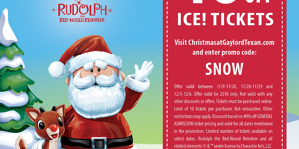 Gaylord Texan ICE!® featuring Rudolph the Red-Nosed Reindeer