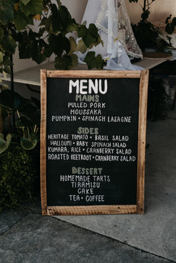 Hunter gatherers blackboard menu gisborne hire
