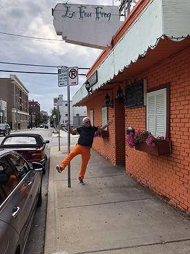 John Tierney in Orange Pants at Le Fou f
