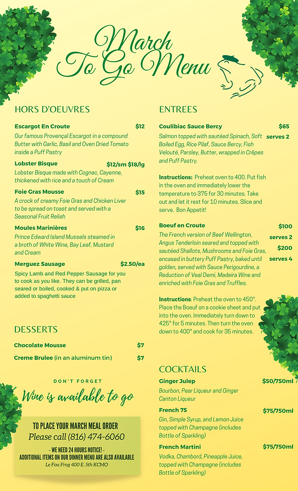 LE FOU FROG MARCH TO GO MENU