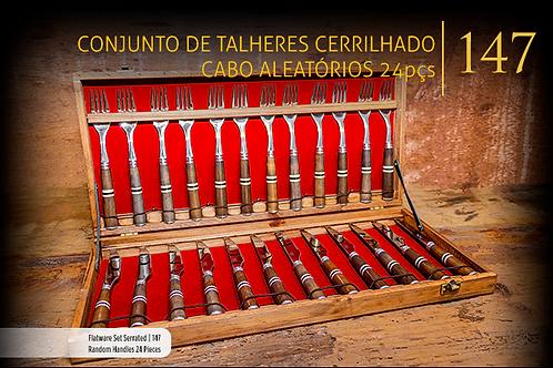 CONJUNTO DE TALHER SERRILHADO CABOS ALEATÓRIOS 24 PEÇAS