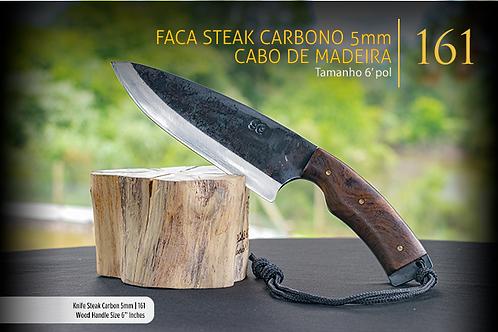 Faca Steak Carbono 5mm - Cabo de Madeira