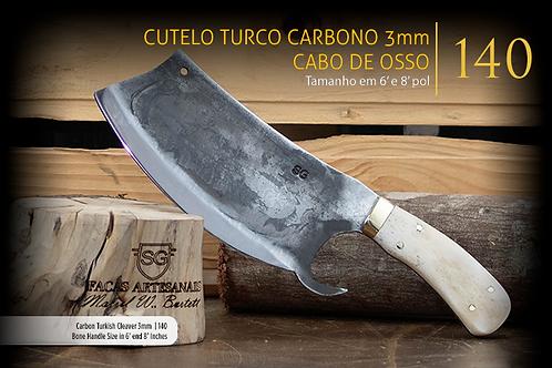 CUTELO TURCO CARBONO CABO DE OSSO 3MM